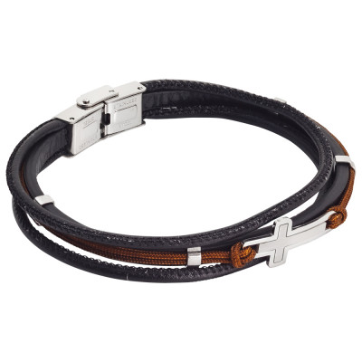 Bracciale in similpelle marrone e cordino marino marrone