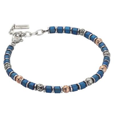 Bracciale beads con ematite galvanizzata blu e pietra lavica