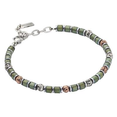 Bracciale beads con ematite galvanizzata verde e pietra lavica