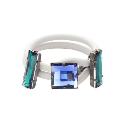 Bracciale in gomma bianca con cristalli blu e smeraldo