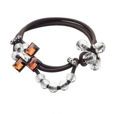 Collana in gomma marrone e cristalli colorati
