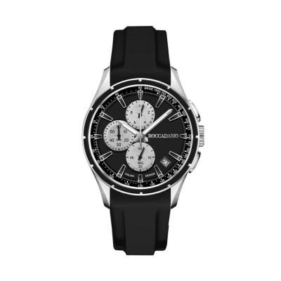 Cronografo in silicone nero con quadrante nero, contatori silver ed ardiglione in acciaio