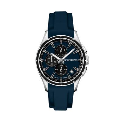 Cronografo in silicone navy con quadrante blu, contatori black ed ardiglione in acciaio