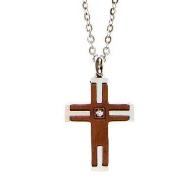 Collana in acciaio con croce latina e diamante