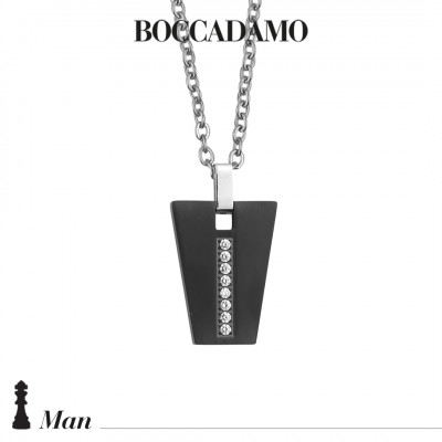 Collana con pendente geometrico in PVD nero e zirconi
