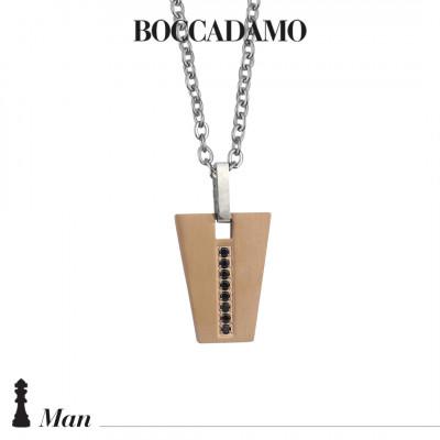 Collana con pendente geometrico in PVD oro rosa e zirconi