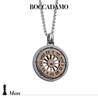 Collana con meridiana in PVD argento e rosa