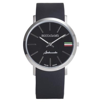 Orologio con cinturino in silicone, quadrante nero e tricolore