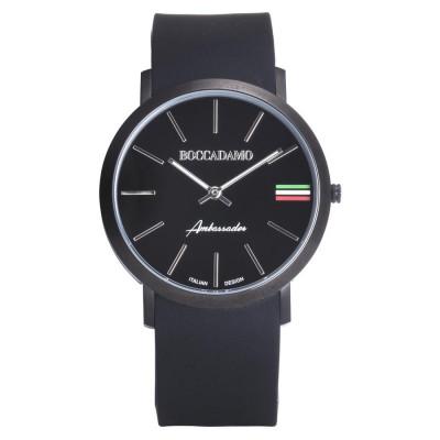 Orologio con cinturino in silicone, quadrante nero, ghiera nera e tricolore