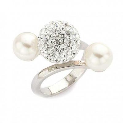 Anello in argento con perle e strass