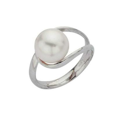 Anello con perla Swarovski bianca avvolta in doppia anima d'argento