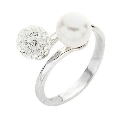 Anello in argento con perle Swarovski bianche e strass