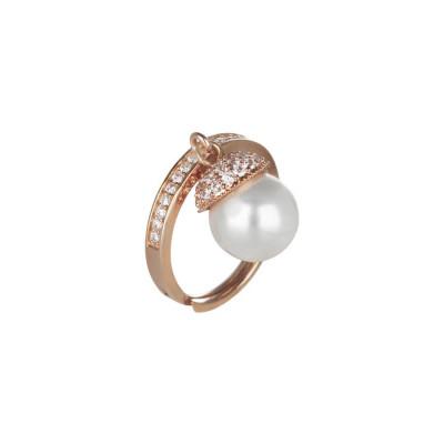 Anello regolabile in argento rosato, zirconi e perla Swarovski