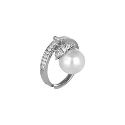 Anello regolabile in argento, zirconi e perla Swarovski