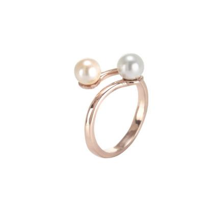 Anello rosato con perle Swarovski bianche
