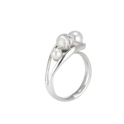 Anello contrariè con perle Swarovski e sfera diamantata