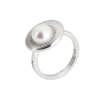 Anello eclissi di luna con zirconi e perla naturale.