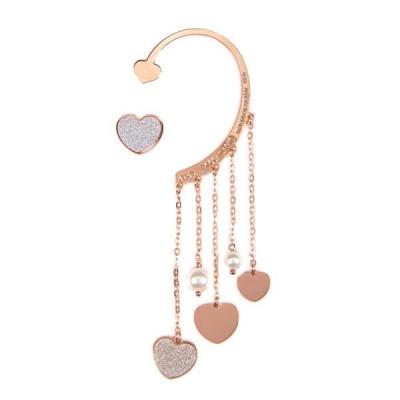 Ear cuff placcato oro rosa con perle bianche Swarovski