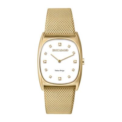 Orologio da polso donna con quadrante rettangolare e cinturino dorato