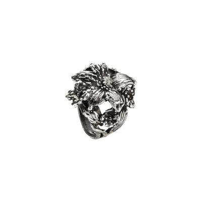 Anello lilium in argento brunito