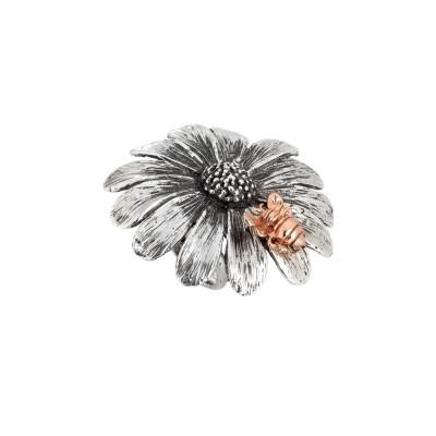 Anello margherita in argento brunito con apetta rosata