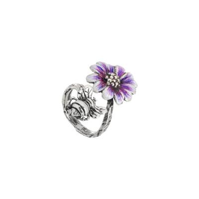 Anello contrariè in argento brunito e margherita dipinta nelle sfumature del viola