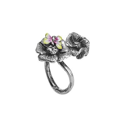 Anello contrariè in argento brunito con fiori di ciliegio e ape dipinta a mano