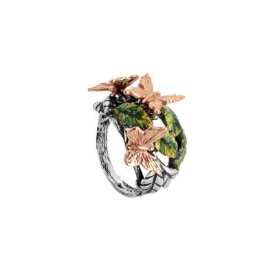 Anello in argento brunito con foglie di ulivo dipinte e farfalle rosate