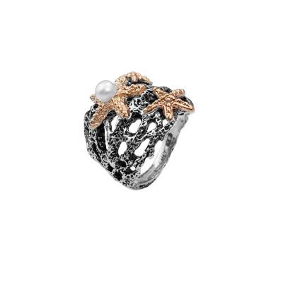 Anello corallo con perla naturale