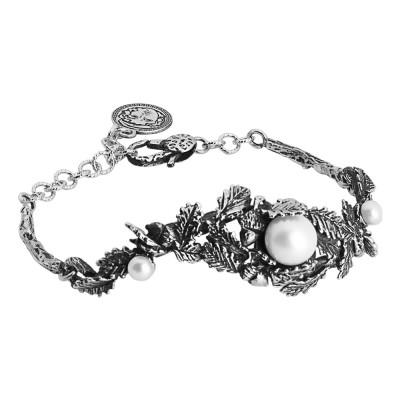 Bracciale in argento brunito con decoro di ghiande, foglie di castagno e perle naturali