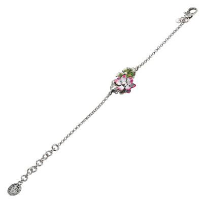 Bracciale in argento brunito con fiore di ninfea dipinto di fucsia