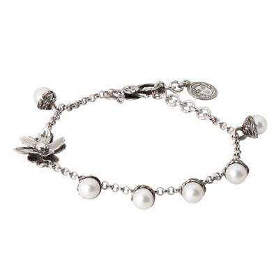 Bracciale in argento brunito con perle naturali e fiore di ninfea