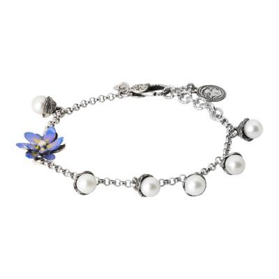 Bracciale in argento brunito con perle naturali e fiore di ninfea lilla