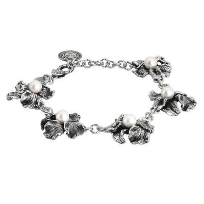 Bracciale modulare in argento brunito con fiori di iris e perle naturali