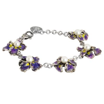 Bracciale modulare in argento brunito con fiori di iris dipinti e perle naturali