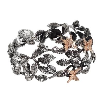 Bracciale semirigido in argento brunito con decoro di foglie di ulivo e farfalle rosate