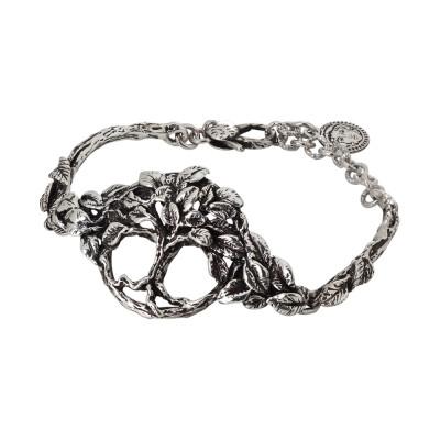 Bracciale semirigido in argento brunito con albero della vita