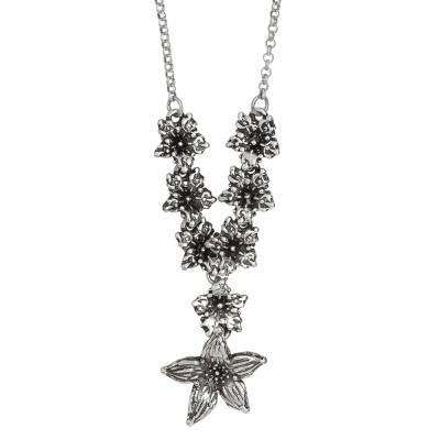 Collana a Y in argento brunito con fiori di lilium bruniti