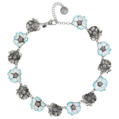 Collana con fiori di ciliegio in argento brunito e dipinti a mano
