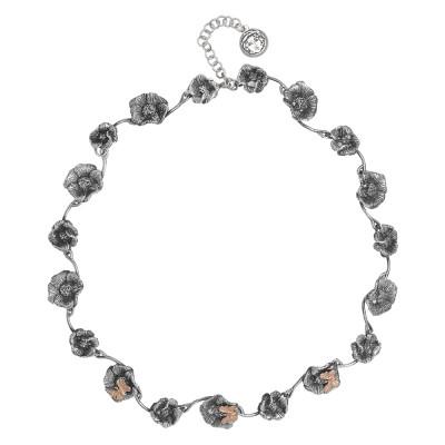 Collana semirigida in argento brunito con fiori di ciliegio e farfalle placcate oro rosa