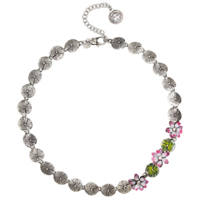 Collana in argento brunito con fiori dipinti a mano nelle sfumature del fucsia