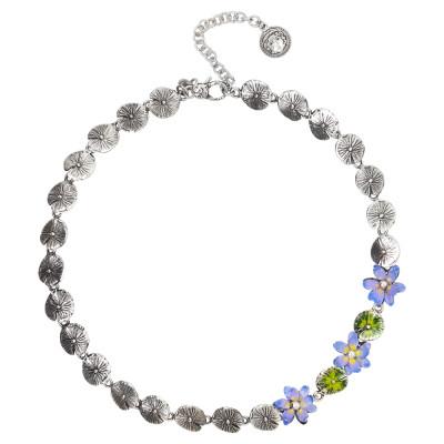 Collana in argento brunito con fiori dipinti a mano nelle sfumature del lilla