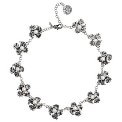 Collana con moduli di lilium in argento brunito e perle naturali