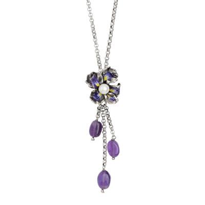 Collana in argento brunito con pendente a ciuffetto, perla naturale e ametista