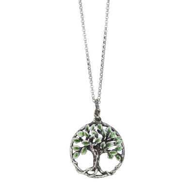 Collana in argento brunito con pendente circolare e albero della vita dipinto a mano