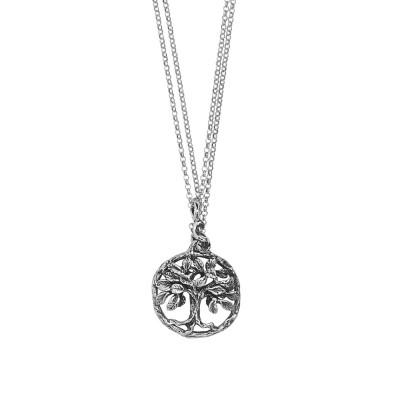 Collana doppio filo in argento brunito con con pendente circolare e albero della vita