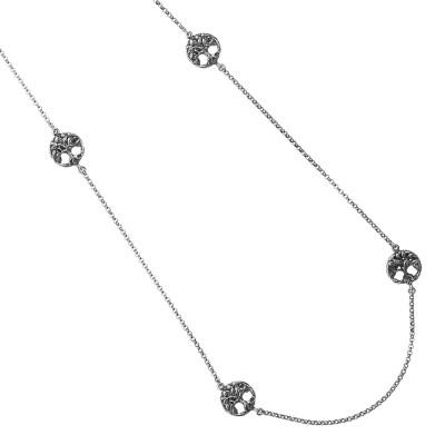 Collana Chanel in argento brunito con decorazioni circolari e albero della vita