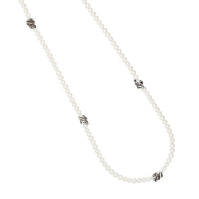 Collana Chanel con perle lisce naturali e foglie piuma in argento brunito