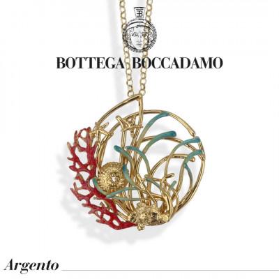 Collana placcata oro giallo con pendente decorato da anemoni smaltati