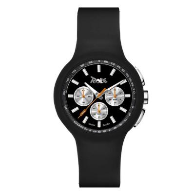 Orologio in silicone nero e contatori silver